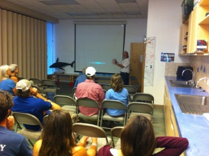 Peter Jay Brown address Pacific Whale Foundation audience at recent lecture series