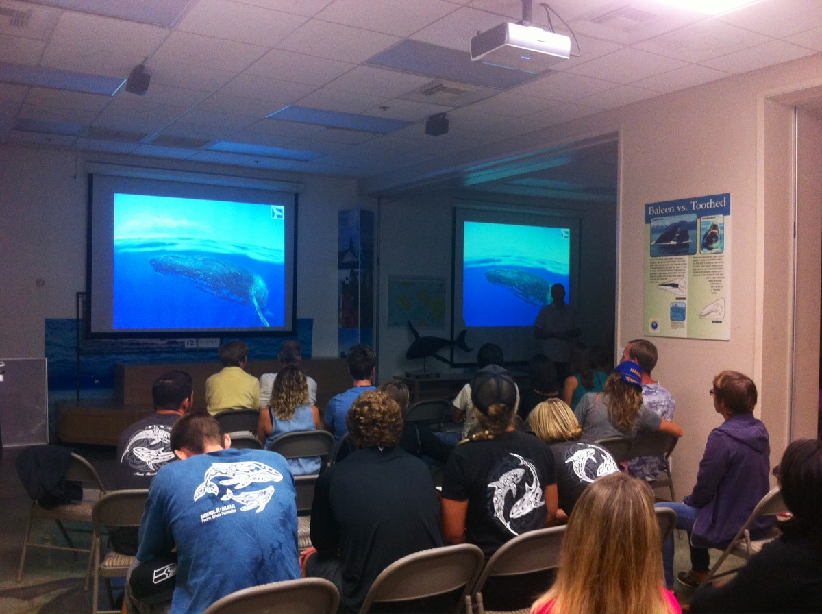 Greg Kaufman presents to a packed room during the annual Be Whale Aware training.