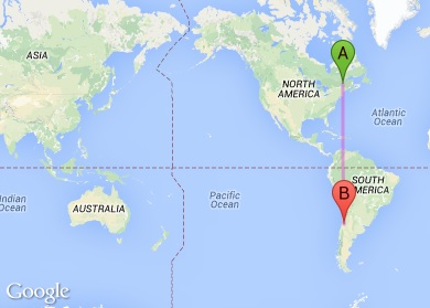 Distance from Quebec City, Canada (A) and Santiago, Chile (B).