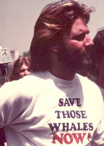 Our founder, Greg Kaufman, standing up for the whales in PWF's early days