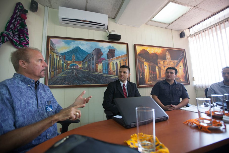 Kaufman meets with Juan Rivera, INGUAT (Guatemala Tourism Board), Dr. Galvez and assistant, CONAP (National Protected Areas), and local environmentalist Max Baldetty.