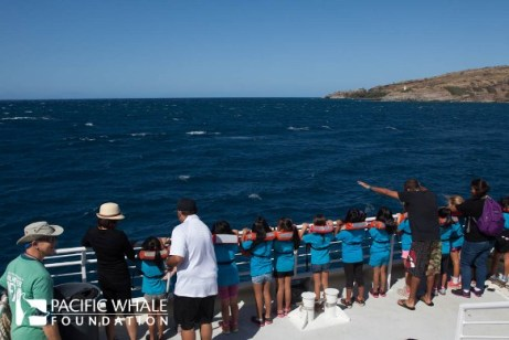 mulitiple children with chaperones during a keiki whalewatch