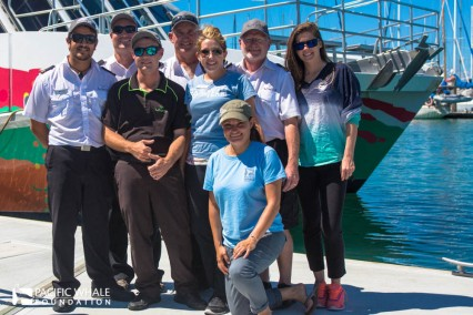 """Boat Club crew left to right: Kiwi Michael, Scottie """"Daimo"""", Michael """"who loves pink,"""" Stephanie, Selket, Capt. Phil and Laura."""