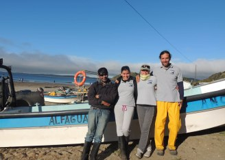 Research team in Chiloe left to right: Capt. Jose, Barbara, Elsa and Mariano