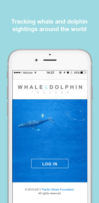 Whale & Dolphin Tracker home screen