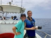 Our summer research interns, Barbara and Jaclyn, aboard Ocean Protector