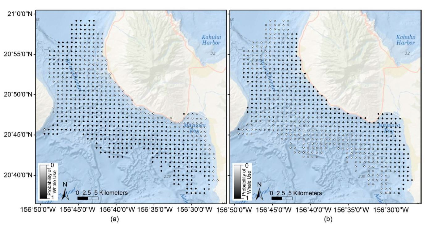 Darker dots represent higher chance of sightings of pods without (left) and with a calf (right).