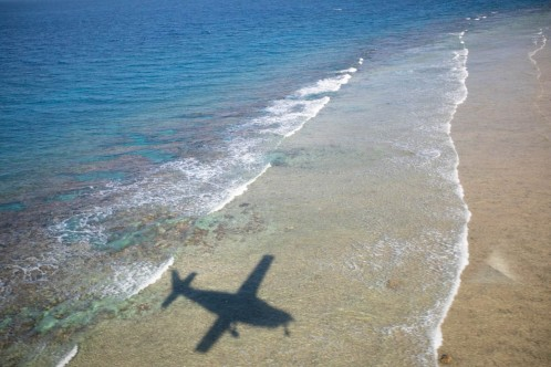 The only way on the island is by plane